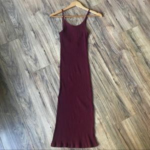Red wine Ribbed Midi Bodycon Bare Back Dress
